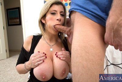 Cock is sliding in milf Sara Jay's mouth and pussy and shooting cum on her big boobs