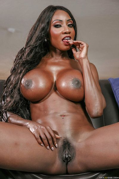 Ebony MILF Diamond Jackson revealing huge black tits while undressing