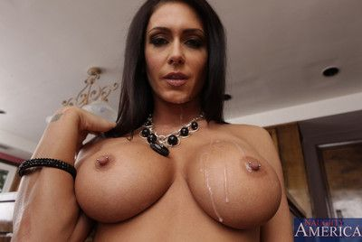Babe with big boobs Jessica Jaymes swallows cock and makes it disappear in cunt