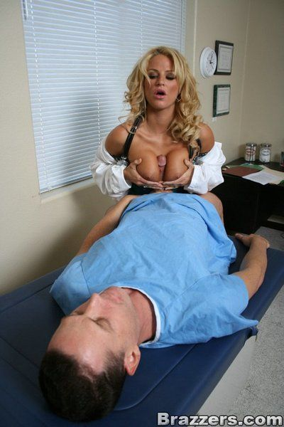 Busty blonde doctor Brooke Belle seduces her patient eager to fuck him hard
