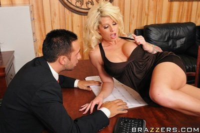 Man fucks hot blonde Brooke Haven with perfect round boobs in his office