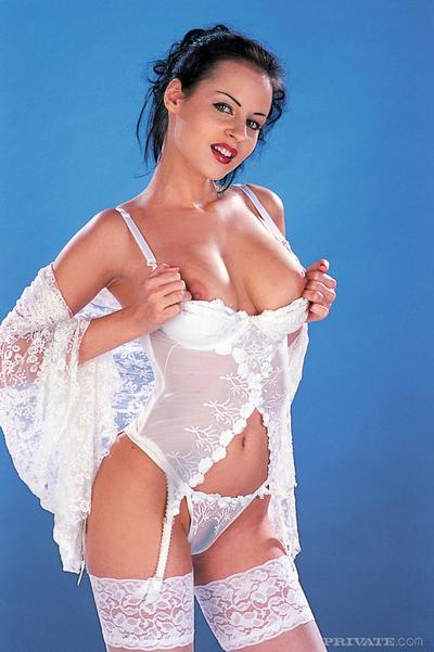 Big breasted Michelle Wild dressed in white drinks fresh sperm after pussy fucking