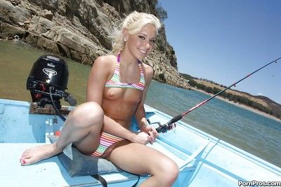 Teen babe with tiny tits Kacey Jordan shows her body on a boat