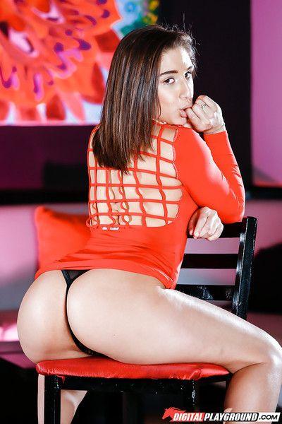 Brunette teen Abella Danger loosing big butt and bush from tight dress