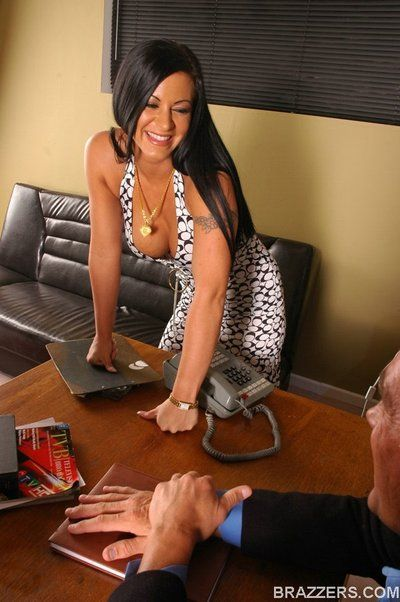 Dropping to her knees at the office Kimberly Franklin shoves a hard shaft deep down her throat.