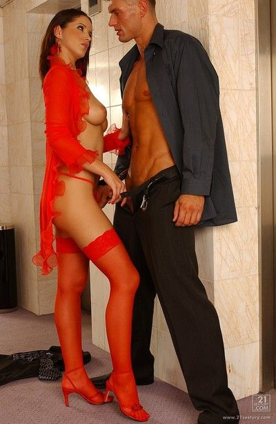 Sweet bimbo in red panty and stockings Angel Dark is getting diddled into cunt