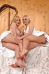 Attractive and hot blonde babe Linda Shane is banging her babes pussy with dildo