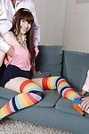 Petite young girl Luna Rival receiving double penetration in long socks