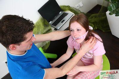 Slutty teen enjoys bondage porn masturbation along hunk eager to feel her