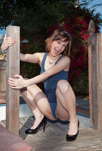 Great outdoor pantyhose flashing session by hot amateur chicito Athena Adrianna