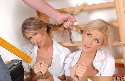 Teen schoolgirl Nessa Devil with pigtails is licking her cuties shaved snatch later school