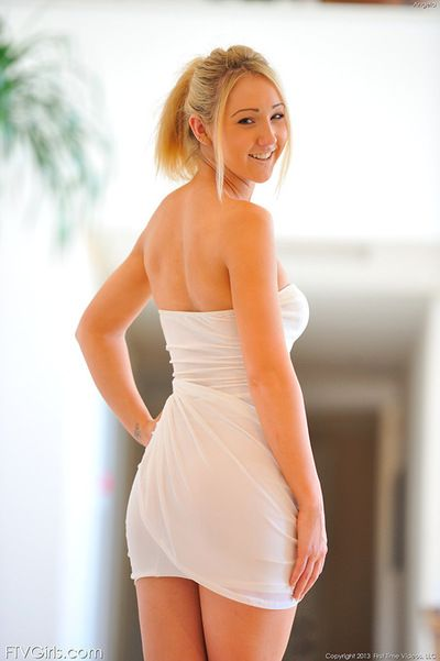 Blonde Angela plays carnal and gently exposes her nude forms