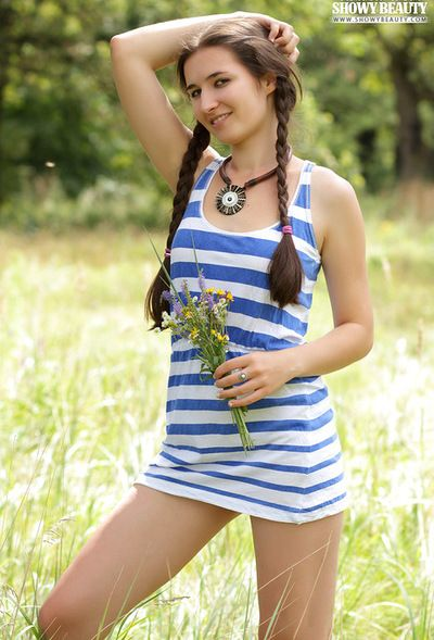 Long braided pigtails are elegant and Jeni has young mounds get pleasure few other girls