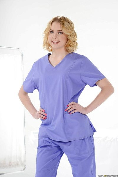 Youthful solo girl Chloe Couture removes nurse uniform to bare petite bra buddies