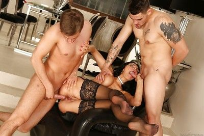 18 year old Kira Princess taking in and riding cock during MMF threesome