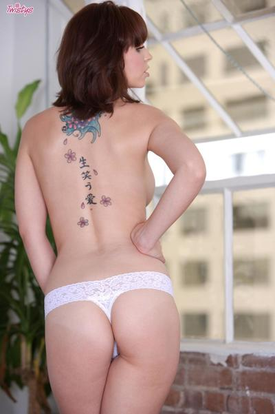 Skillful boobed brunette hair Hayden Winters with very nice ass peels off her white lace lingerie
