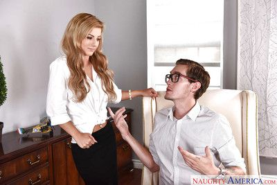 Teen beauty Bella Rose having banging with mammoth cock in office wearing stockings