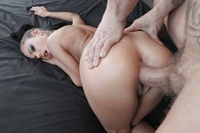 Brown hair juvenile with tiny tits taking hardcore smoking of bald Latin chico pussy