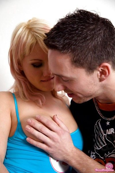 Huge boobed golden-haired teen Amy E glorious hardcore fucking of smooth pussy
