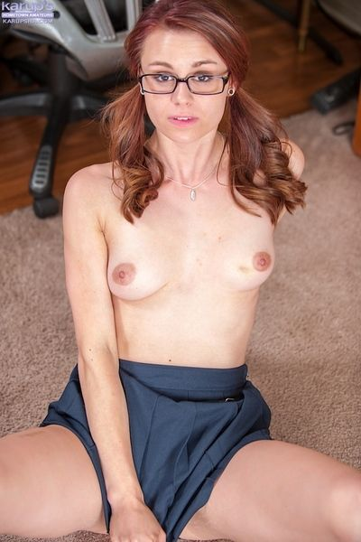 Juvenile young chick Sage Evans and petite tits pose topless in glasses