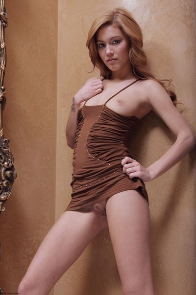 Tall smooth skinned adolescent babe Kimberly Kato gets unclothed in front of the mirror