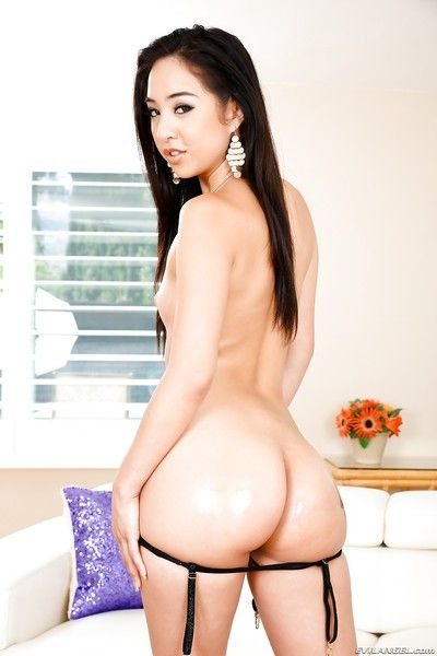 Juvenile Japanese MILF modeling round ass in thong with ripened woman
