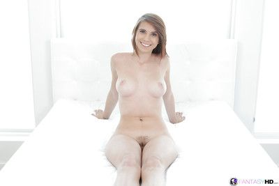 Busty young beauty Cece Capella spreads trimmed pussy right after panty removal