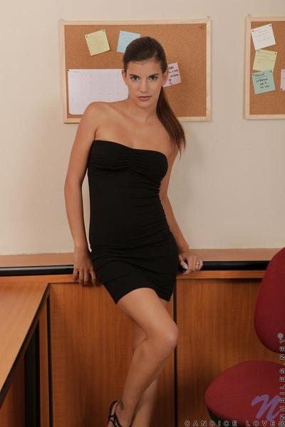 Gorgeous dark hair youthful Kaylee gives a hot striptease in the classroom and plays with she\