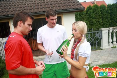Slender schoolgirl Sabrina Blonde drinks champagne and acquires 2 dipped in the manageable air