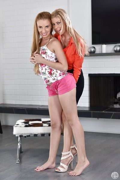 Older blond Alexis Fawx and infant girl Ashlynn Taylor remove clothes always other