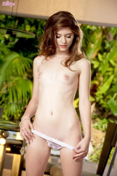 The sultry stripped teen Alice March is sitting on hunkers rubbing the snatch slit