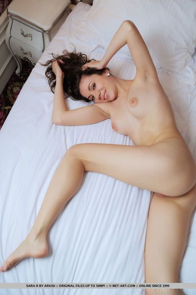 Brunette hair glamour babe Sara H ridding lingerie to bare tiny breasts and ass