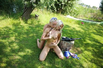 Outdoor humping scene from a youthful lesbo Jessie C and her girlfriend