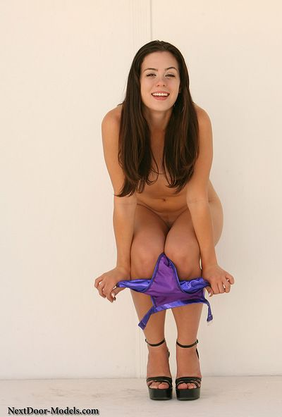 Nice-looking young Abby Brooks fond of to undulate with her hairless gentile exposed