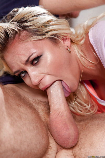 Merely legal blonde young Marsha May gagging on a huge penis