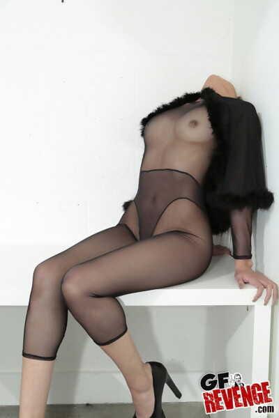 Moist pierced amateur girlfriend in sheer nylon showing precious booty & very cowgirl