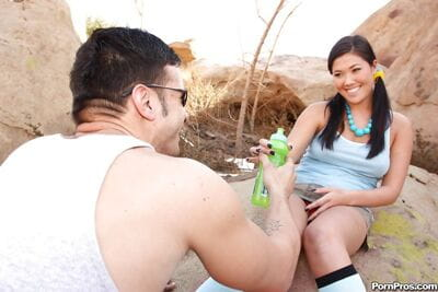 Cute Chinese teen beauty London Keyes sucks and makes love a cock outdoor