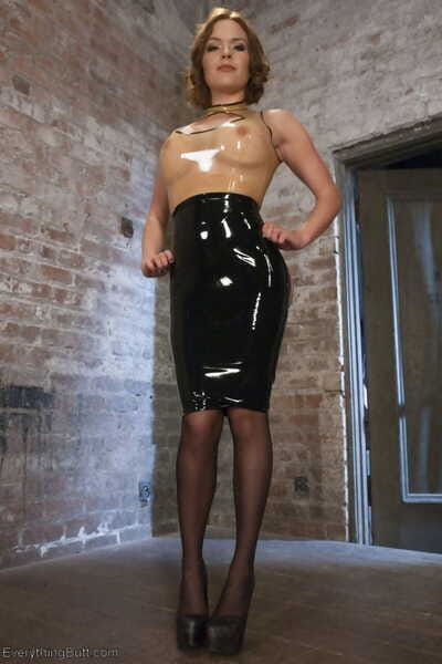 Sticky bitches in latex arse toying with brutal strap-on astonishingly in lesbo S&m