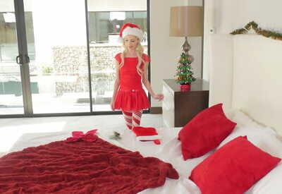 Hot blonde babe in a Christmas dress Piper Perri plays an awesome solo