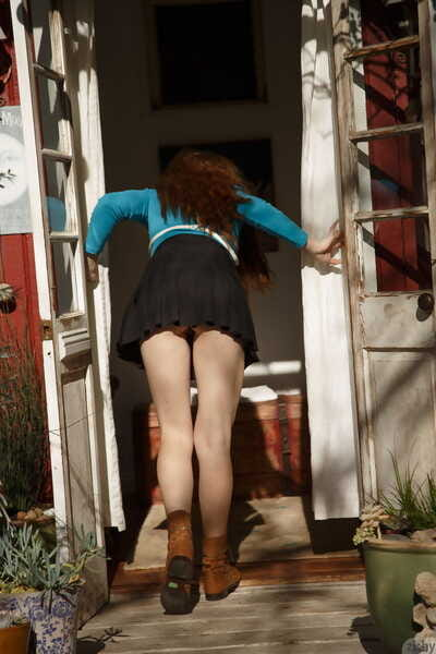 Charming looking girlfriend flashes her biggest milk cans & gets stripped at a secluded cabin