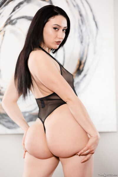 Dark haired chick Mandy Muse touts her phat ass before engulfing off a big dick