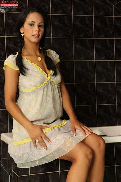 Shower-room room posing scene features an brown hair teen Isabella Chrystin
