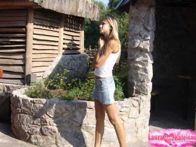 Young fairy teen flashes in nature