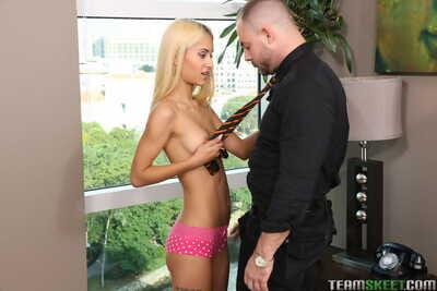 Tiny blonde teen Uma Jolie pleasant core cumshot after hardcore sex