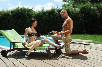Passionate european gal Mira Sunset gives a blowjob and gains porked outdoor