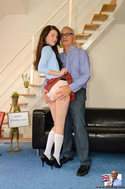 Sassy schoolgirl Mischa doffs white panties to give oldman blowjob for facial