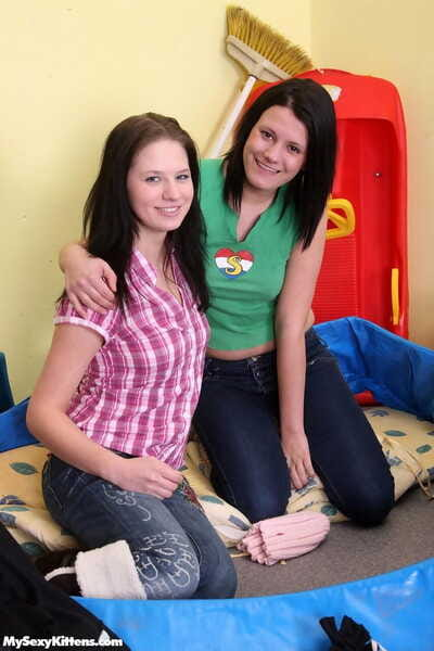 Sticky female-on-female girls in jeans strip for a hot tribbing and fingering session