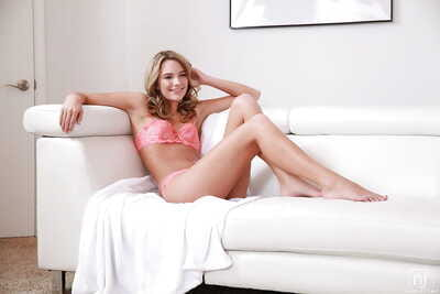 Infant cutie Kenna James posing solo in sexy matched brassiere and panty collection