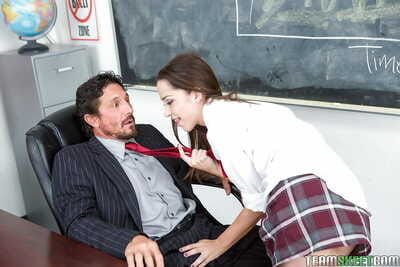 Teen schoolgirl Nikki Next giving immense cock CFNM blowjob and handjob