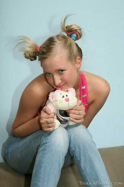 Elegant blonde youthful Inga wears her hair in puffballs while fucking her old tutor